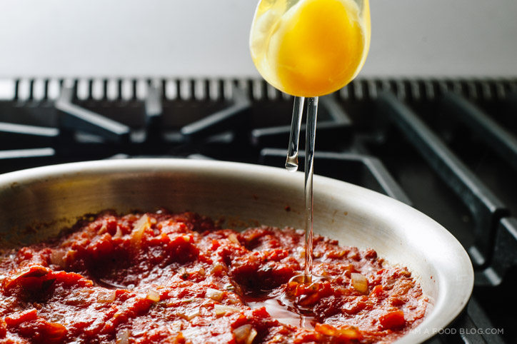 eggs poached in tomato sauce - www.iamafoodblog.com