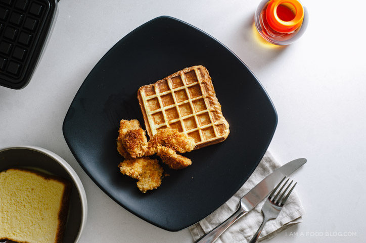 fried chicken and waffled french toast recipe - www.iamafoodblog.com
