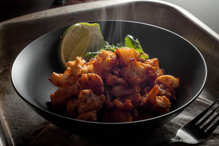 sriracha roasted cauliflower recipe - www.iamafoodblog.com