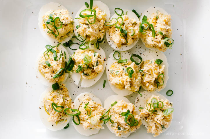 crab rangoon deviled egg recipe - www.iamafoodblog.com