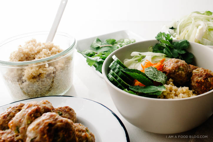 lemongrass pork meatball quinoa bowl recipe - www.iamafoodblog.com