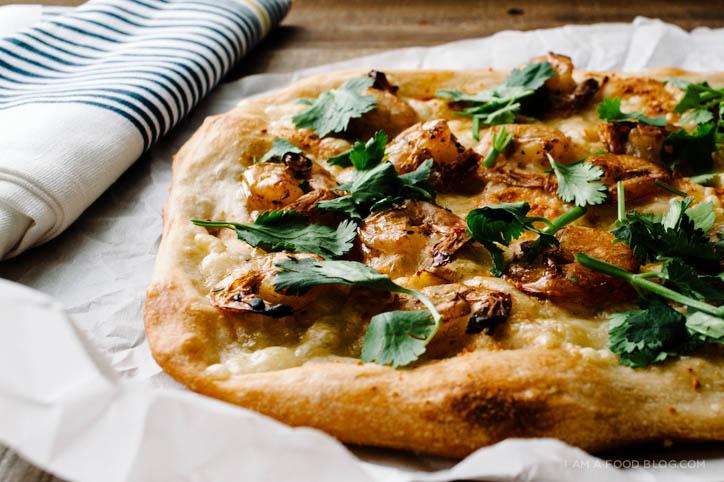 caramelized shrimp pizza recipe - www.iamafoodblog.com