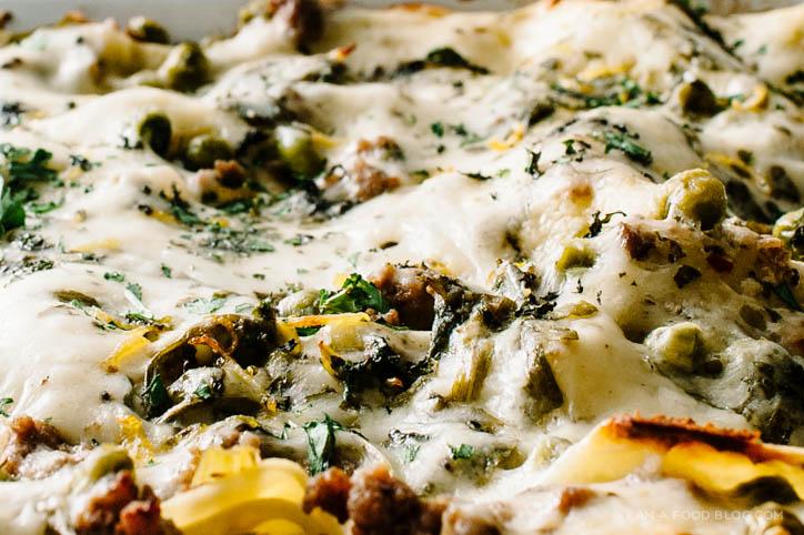 lamb and pea lasagna recipe - www.iamafoodblog.com