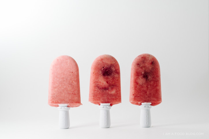 raspberry strawberry melon popsicle recipe - www.iamafoodblog.com