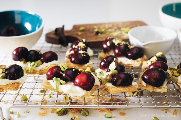 pistacho cherry puff tart recipe - www.iamafoodblog.com