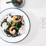 squid ink pasta with shrimp, peas and burrata - www.iamafoodblog.com