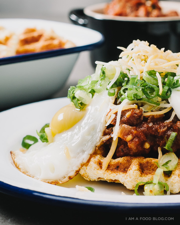 hatch chili and cornbread waffles - www.iamafoodblog.com