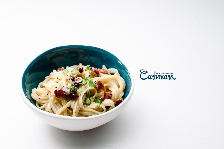 chinese sausage carbonara recipe - www.iamafoodblog.com