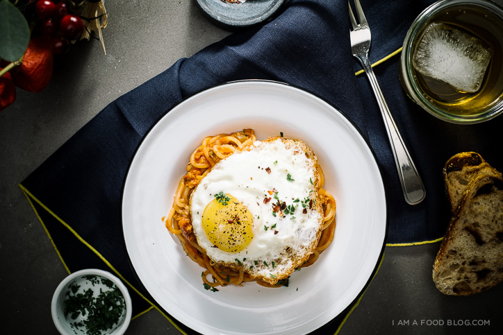 spaghetti and eggs recipe - www.iamafoodblog.com
