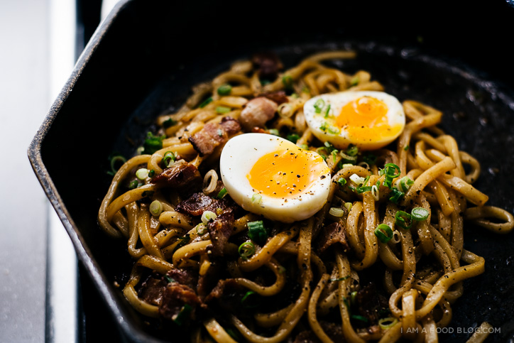 bacon and egg yakiudon recipe - www.iamafoodblog.com