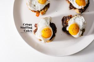 crispy stuffing cakes with quail eggs - www.iamafoodblog.com