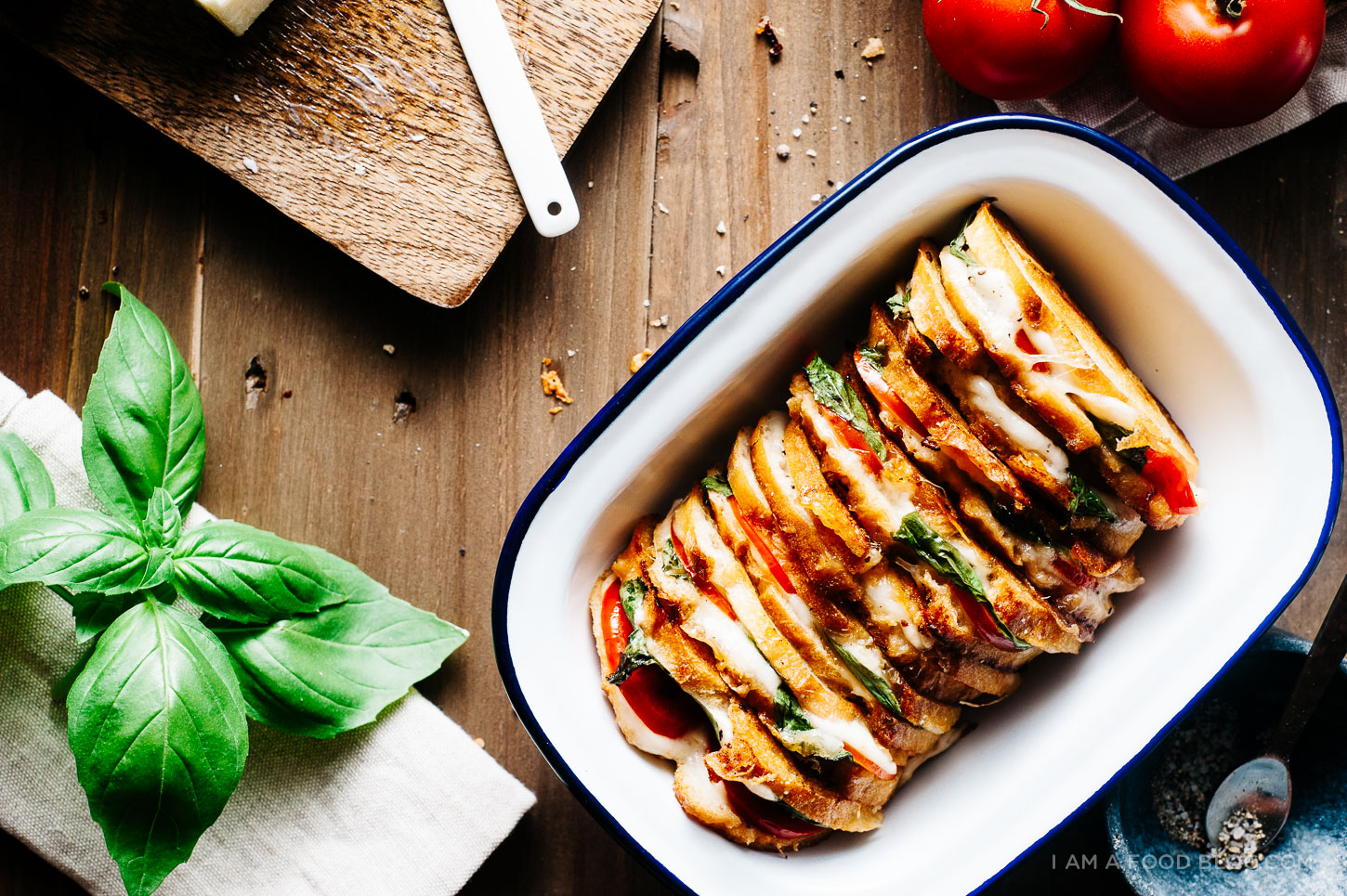 caprese grilled cheese recipe - www.iamafoodblog.com