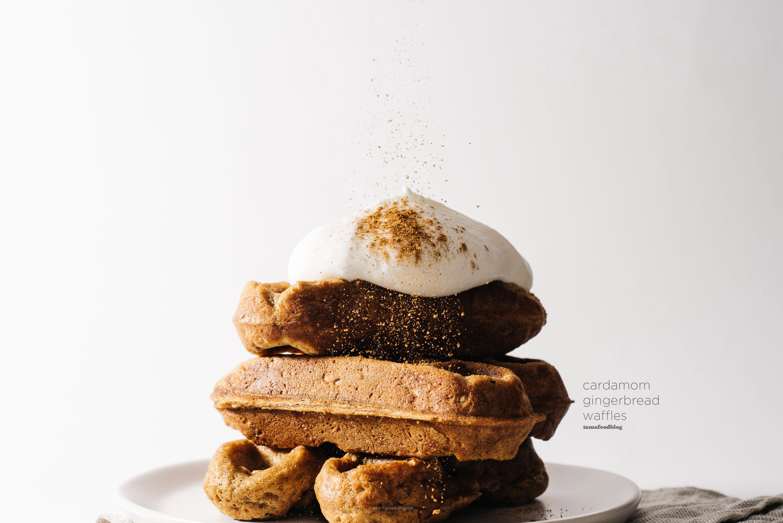 Sunday Brunch Holiday Gingerbread Cardamom Waffles Recipe