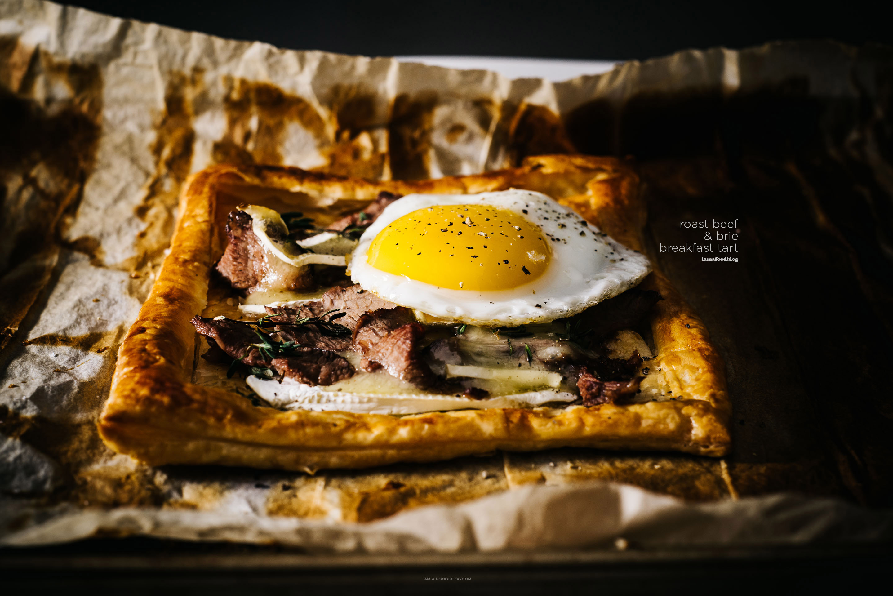 roast beef and brie breakfast tart recipe - www.iamafoodblog.com