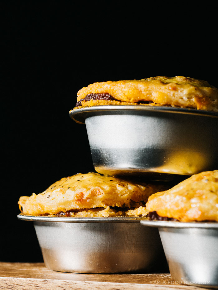 mini beef and beer pies with a cheddar crust - www.iamafoodblog.com