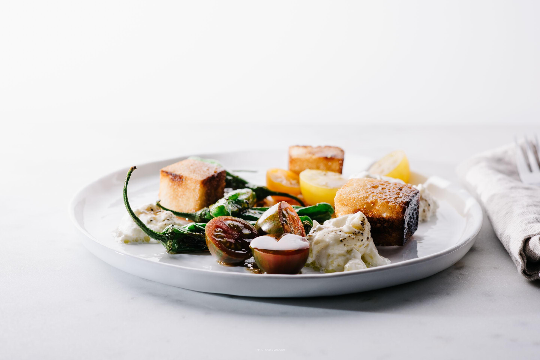 shishito burrata bread salad recipe - www.iamafoodblog.com