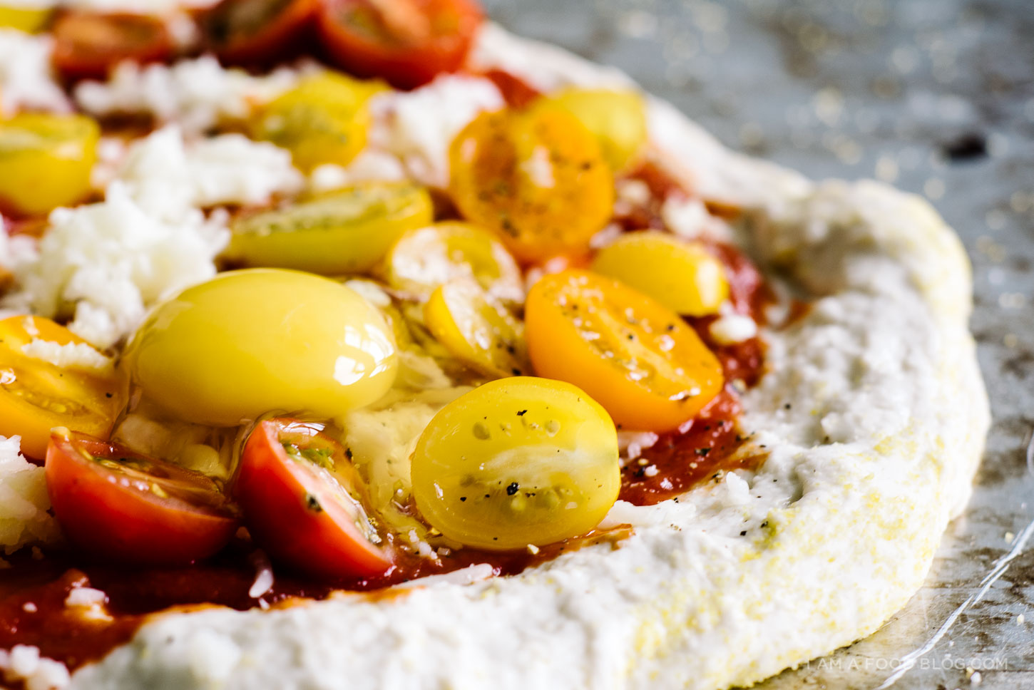 tomato and egg pizza - www.iamafoodblog.com