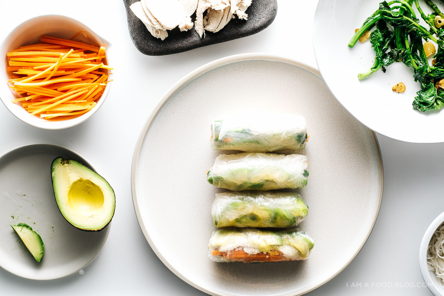 chicken avocado broccoli rabe summer rolls - www.iamafoodblog.com