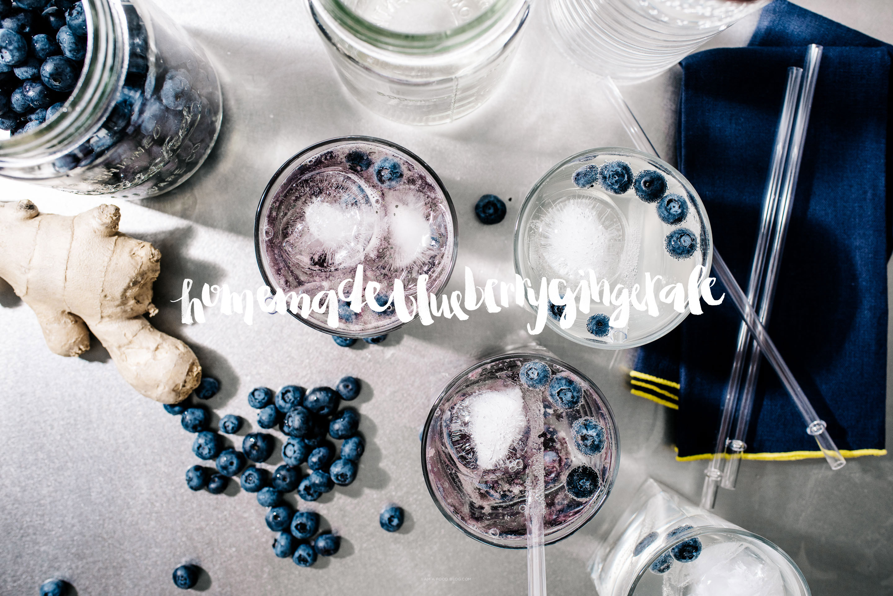 homemade ginger ale blueberry spritz recipe - www.iamafoodblog.com