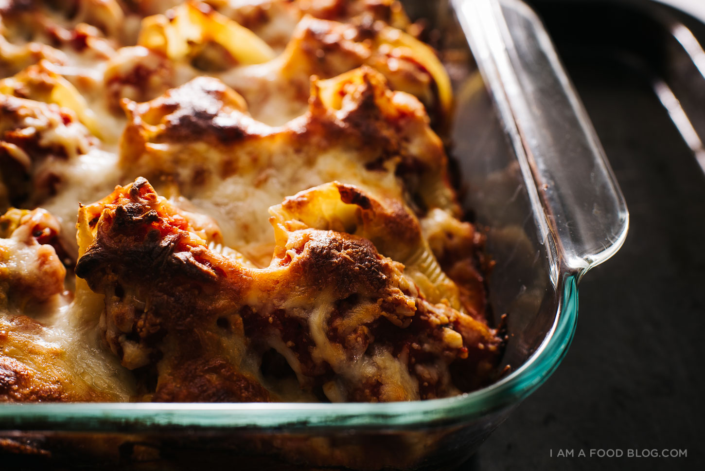 pumpkin and pork cheesy stuffed shells recipe - www.iamafoodblog.com