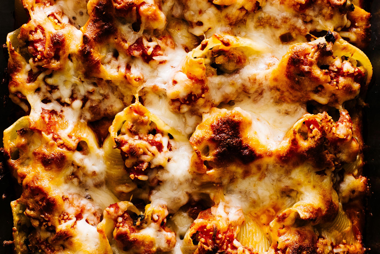 pumpkin and pork cheesy stuffed shells recipe - www.iamafoodblog.com