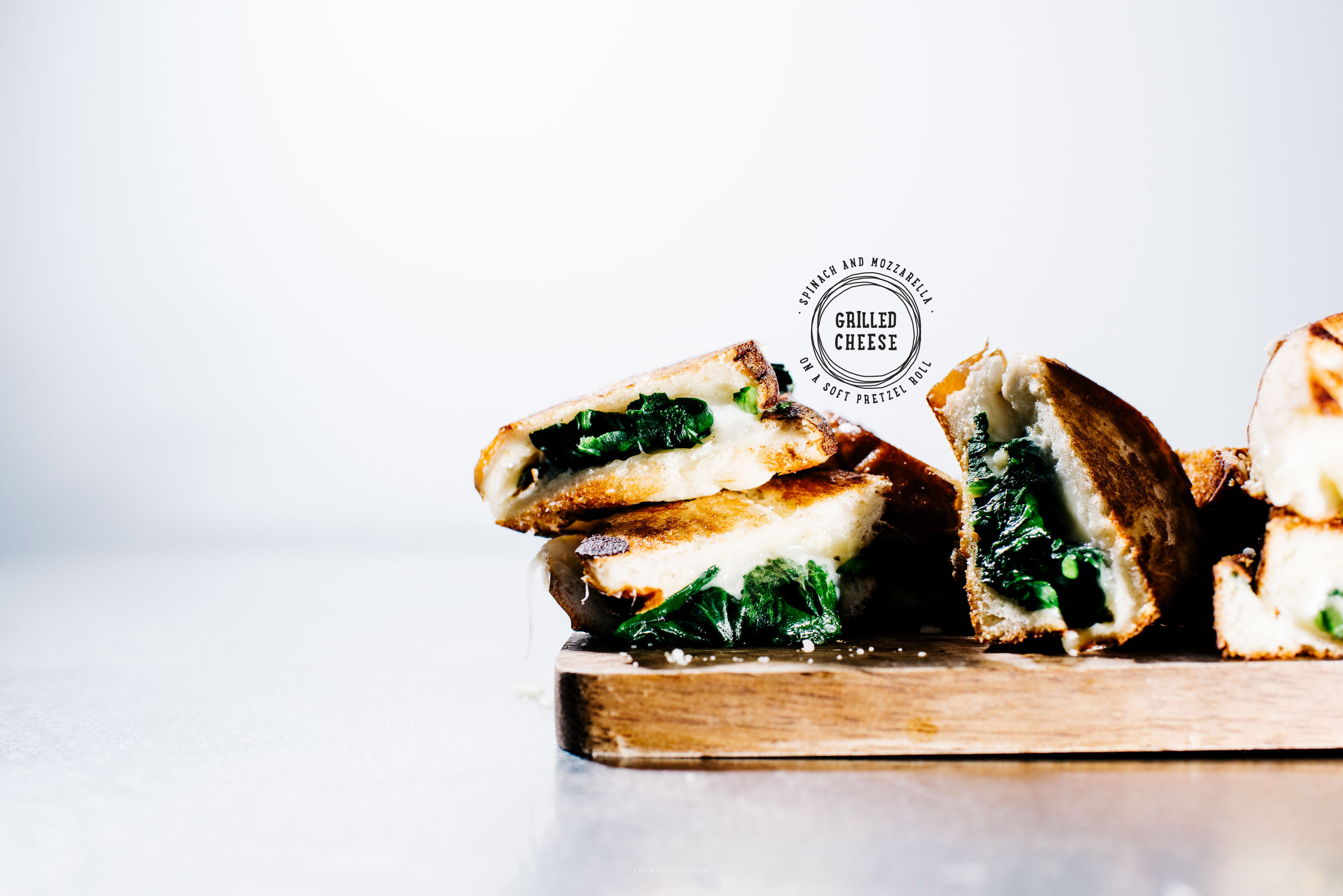 spinach and mozza grilled cheese on pretzel bread - www.iamafoodblog.com