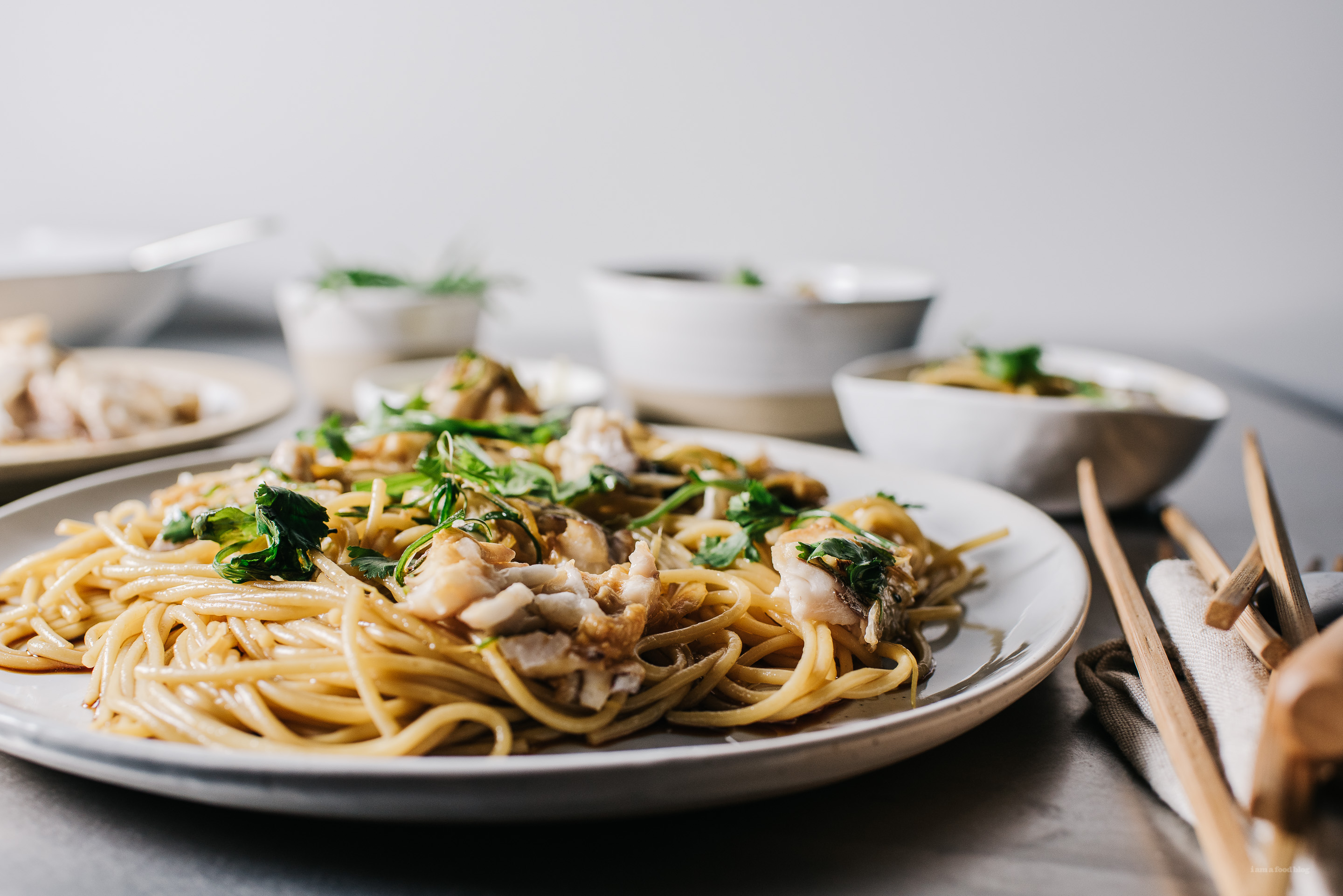 chinese steamed fish with pasta - www.iamafoodblog.com