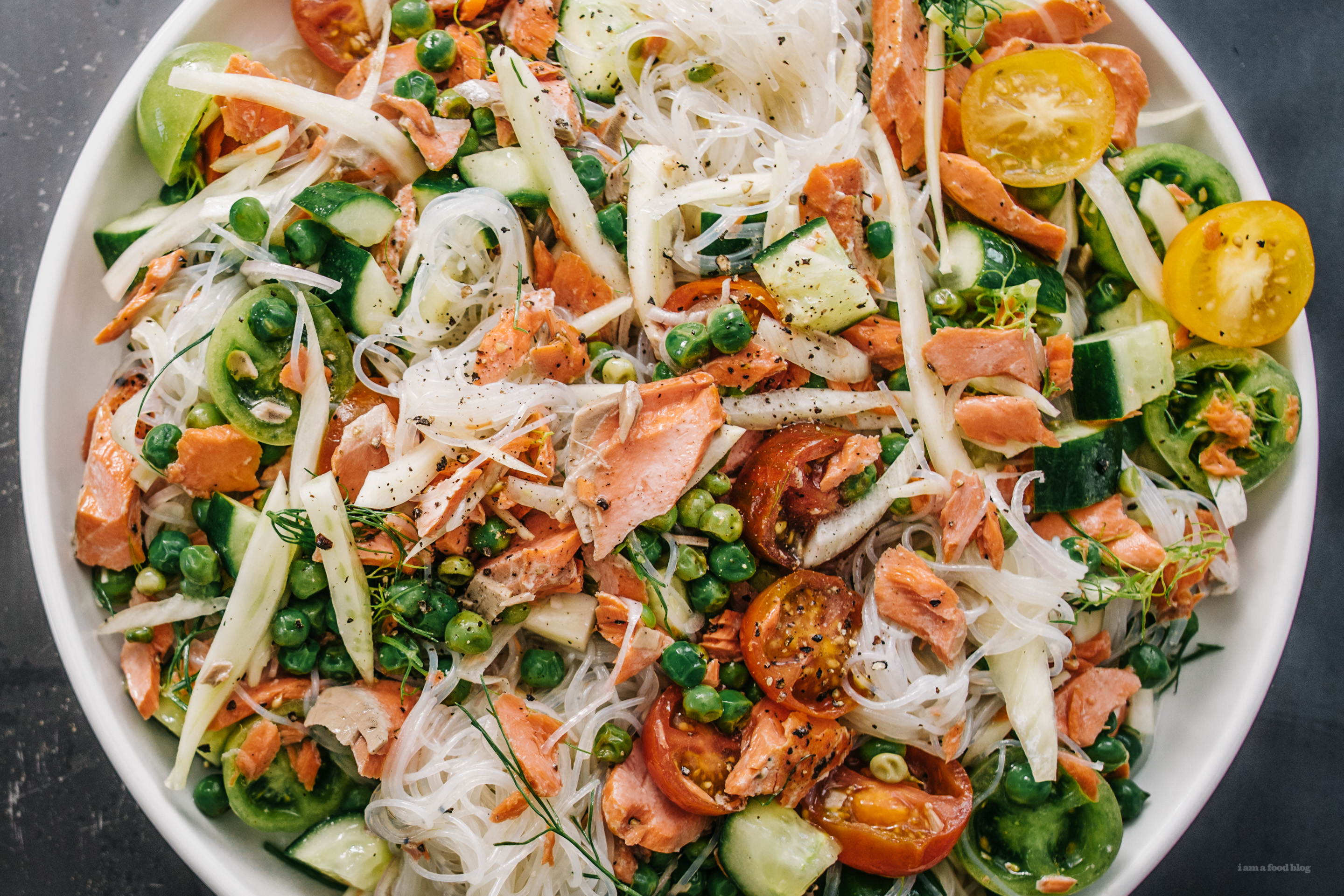 summery salmon cold noodle salad - www.iamafoodblog.com