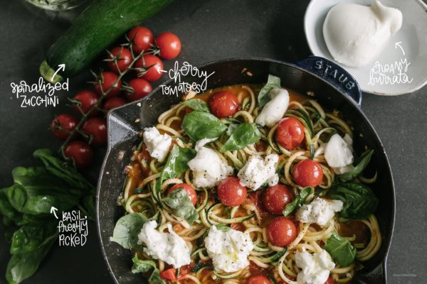 Burrata and Tomato Zoodles - www.iamafoodblog.com