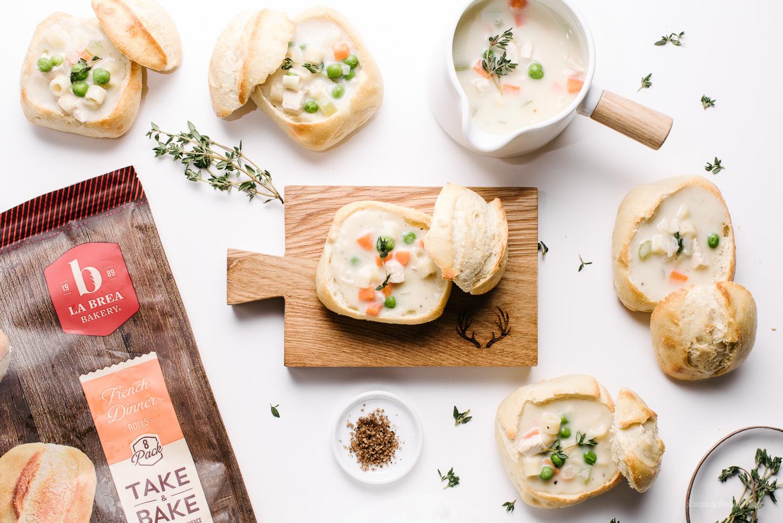 Mini Creamy Chicken Noodle Bread Bowls - www.iamafoodblog.com
