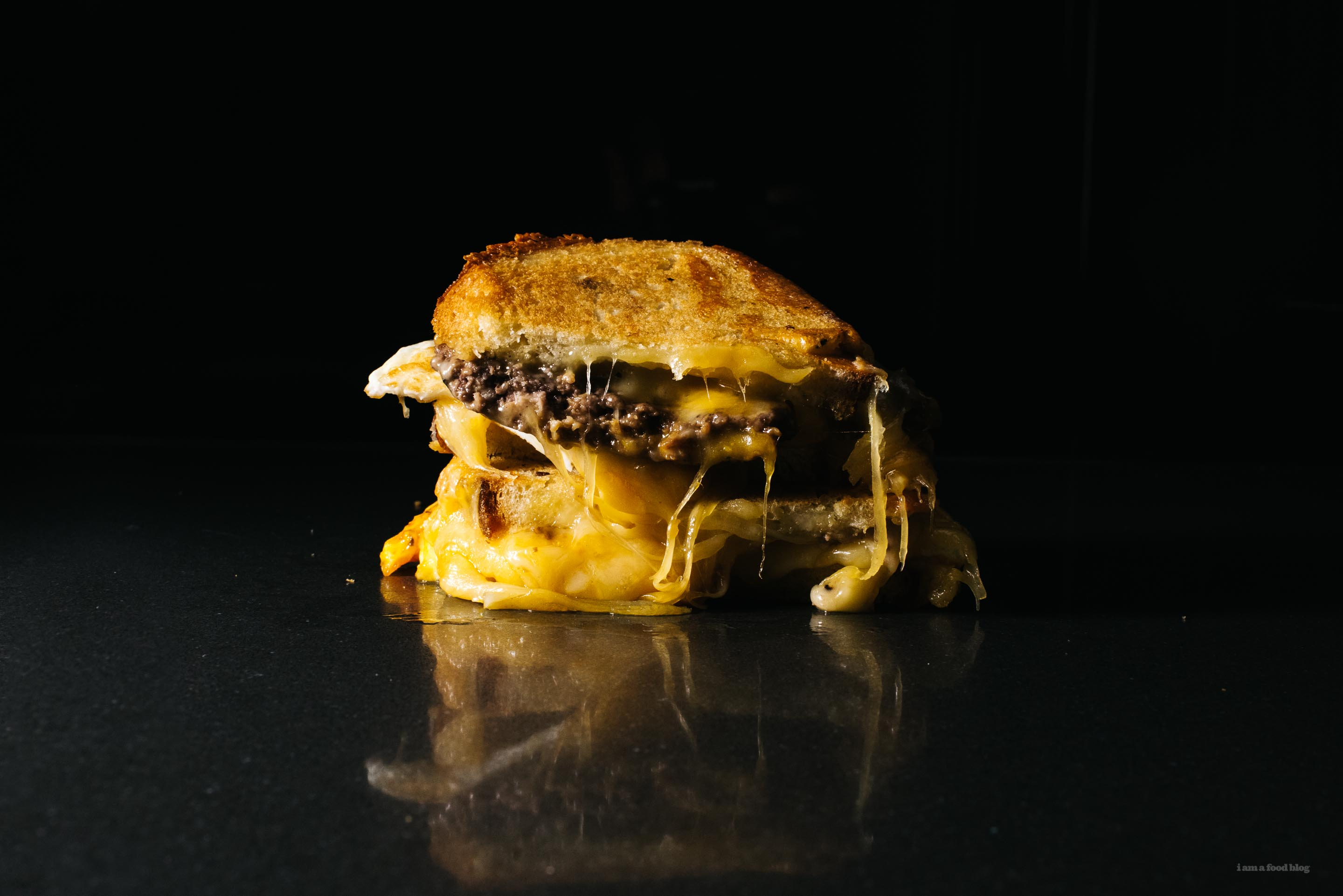 cheeseburger and egg grilled cheese - www.iamafoodblog.com