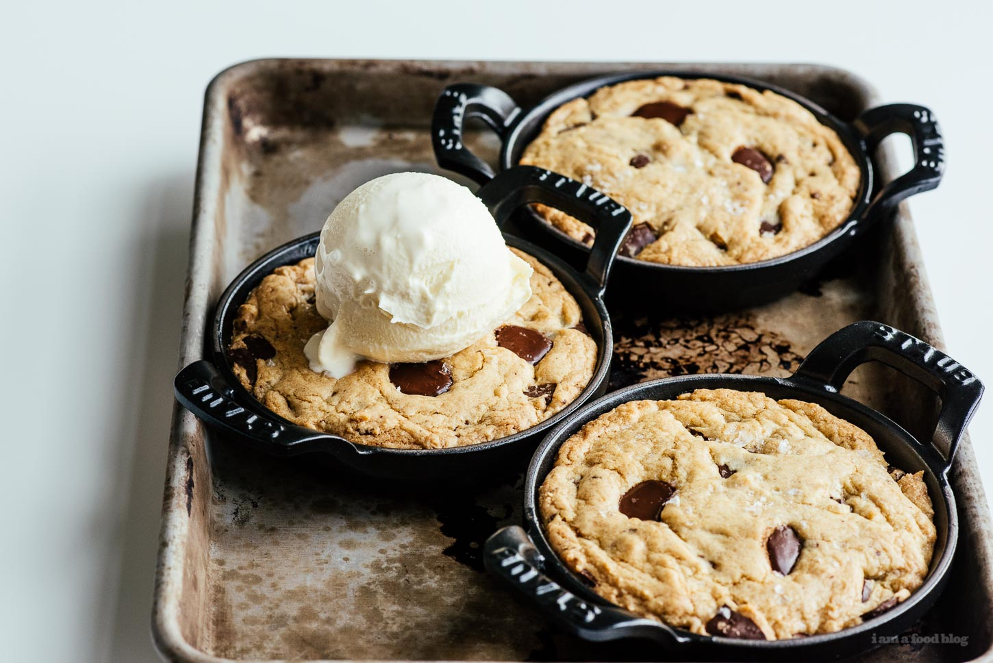 Mini Skillet Chocolate Chip Cookies Recipe - www.iamafoodblog.com