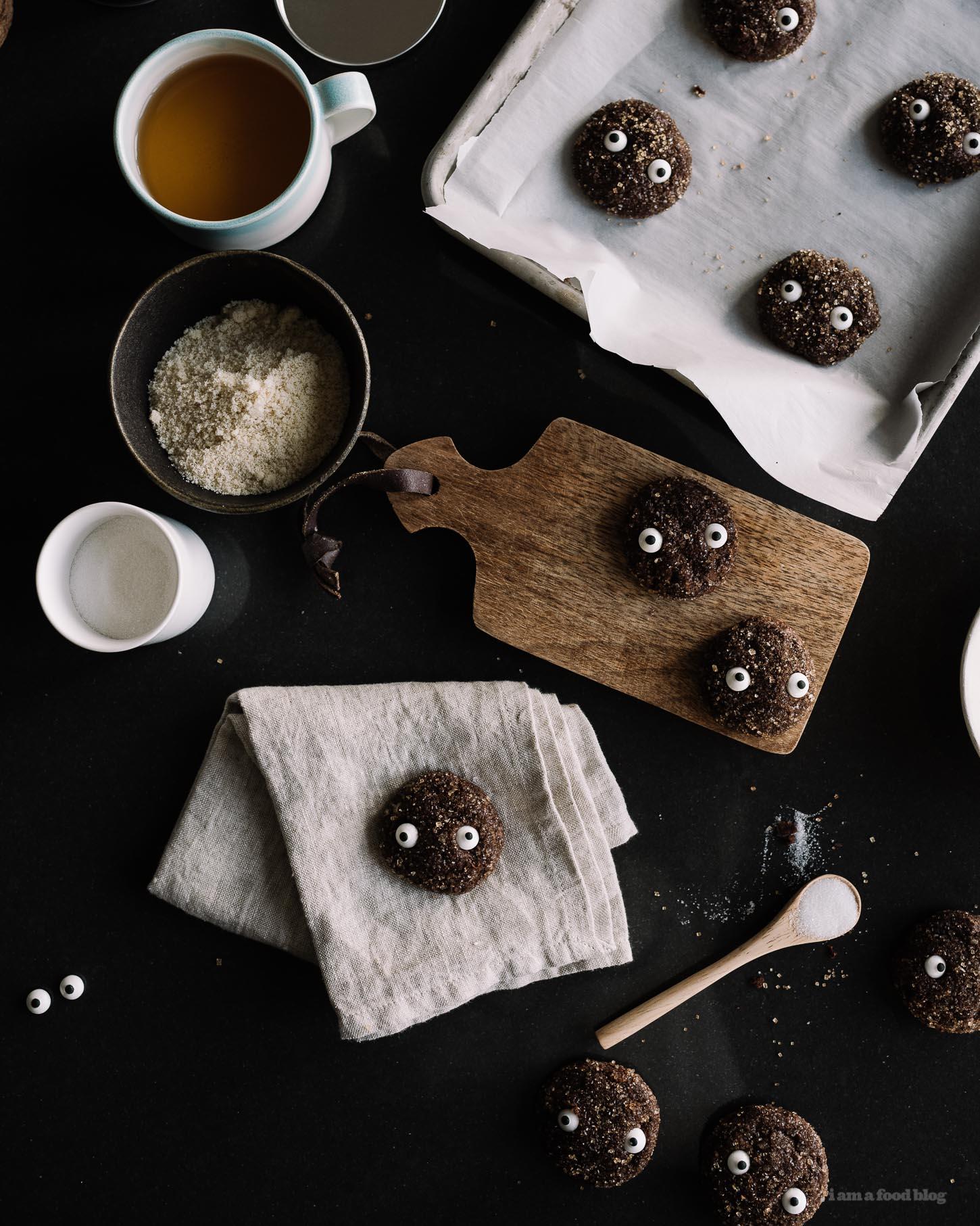 totoro soot sprite chocolate sparkle cookies - www.iamafoodblog.com