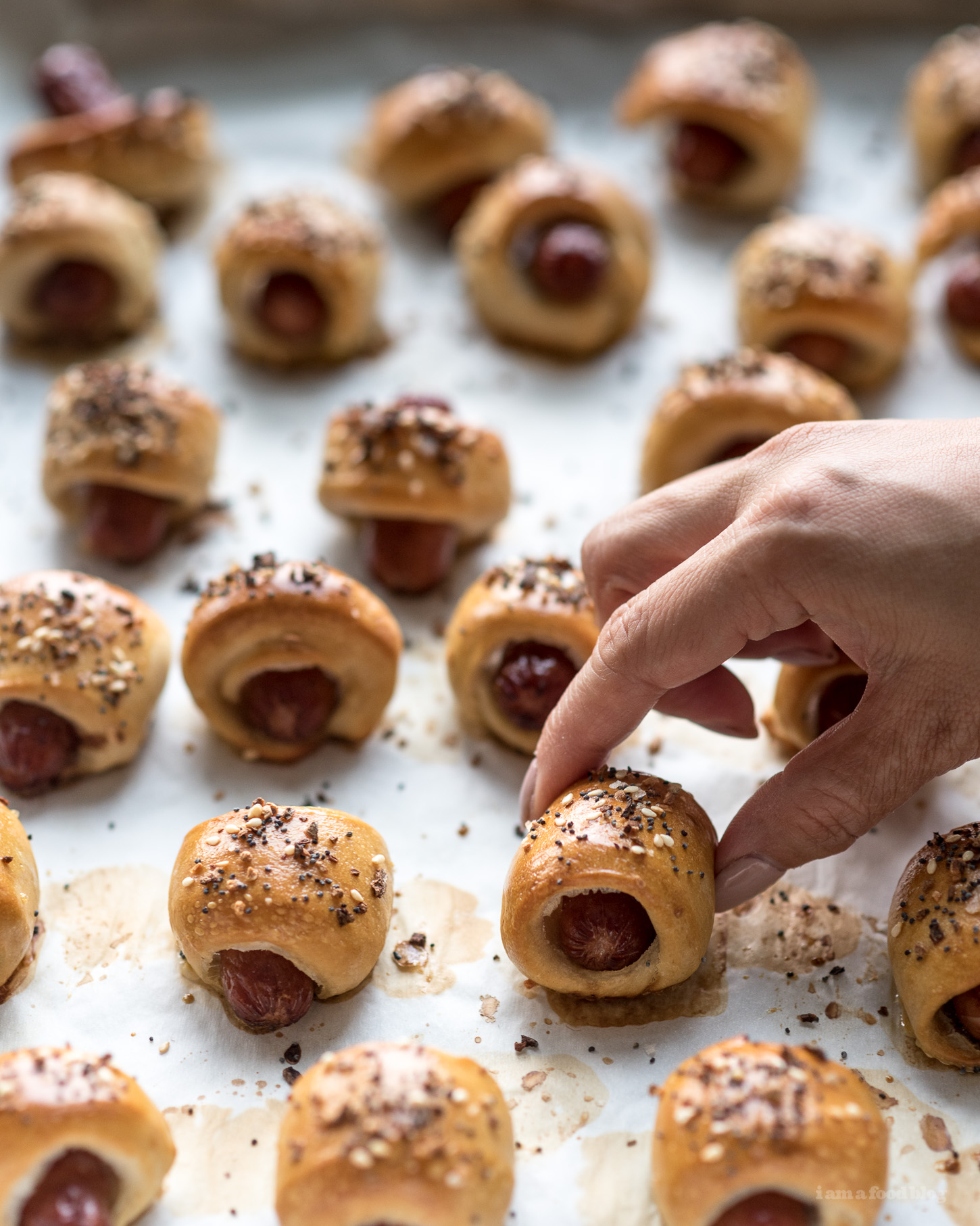 Mini Everything Pretzel Dogs Recipe - www.iamafoodblog.com