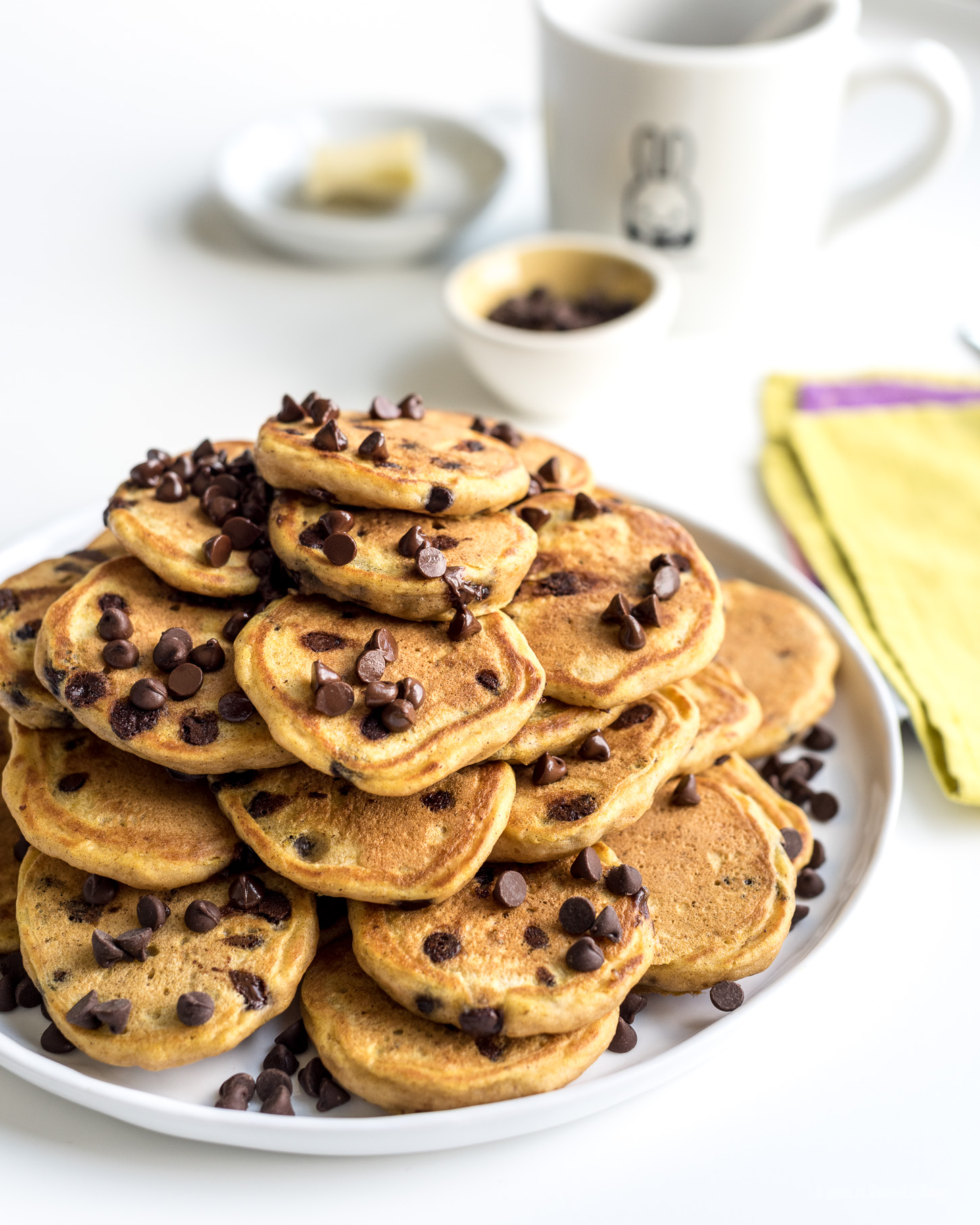 One-Bowl Pumpkin Chocolate Chip Mini Pancakes - www.iamafoodblog.com