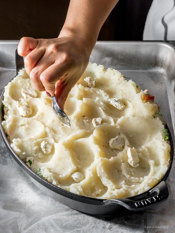 Potato Topped Turkey Pot Pie Recipe - www.iamafoodblog.com