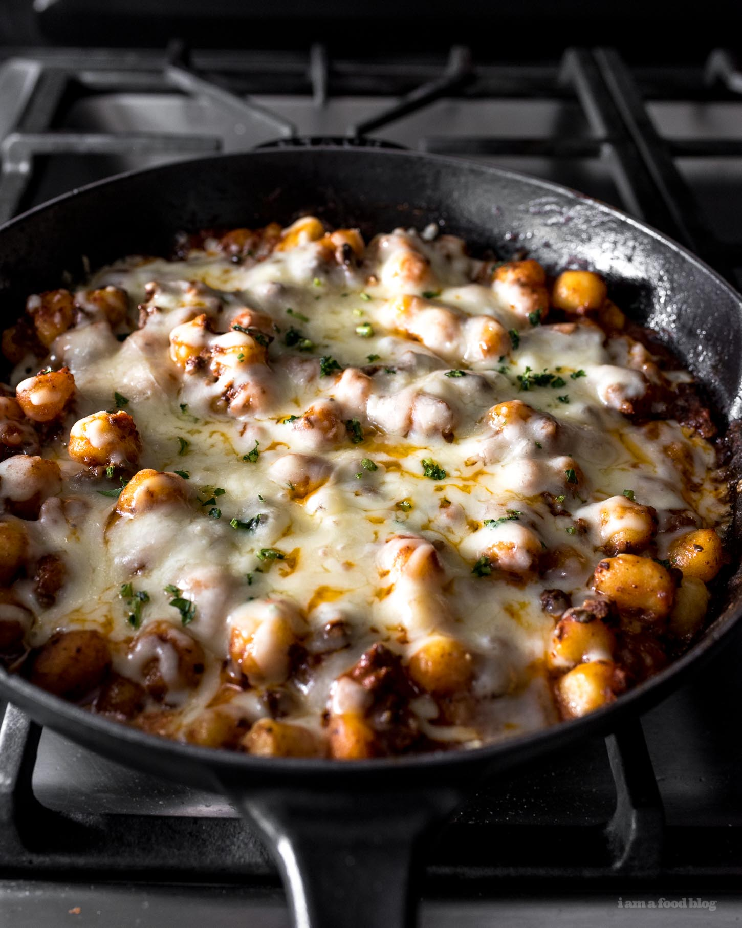 Extra Cheesy Baked Gnocchi Bolognese Recipe | www.iamafoodblog.com
