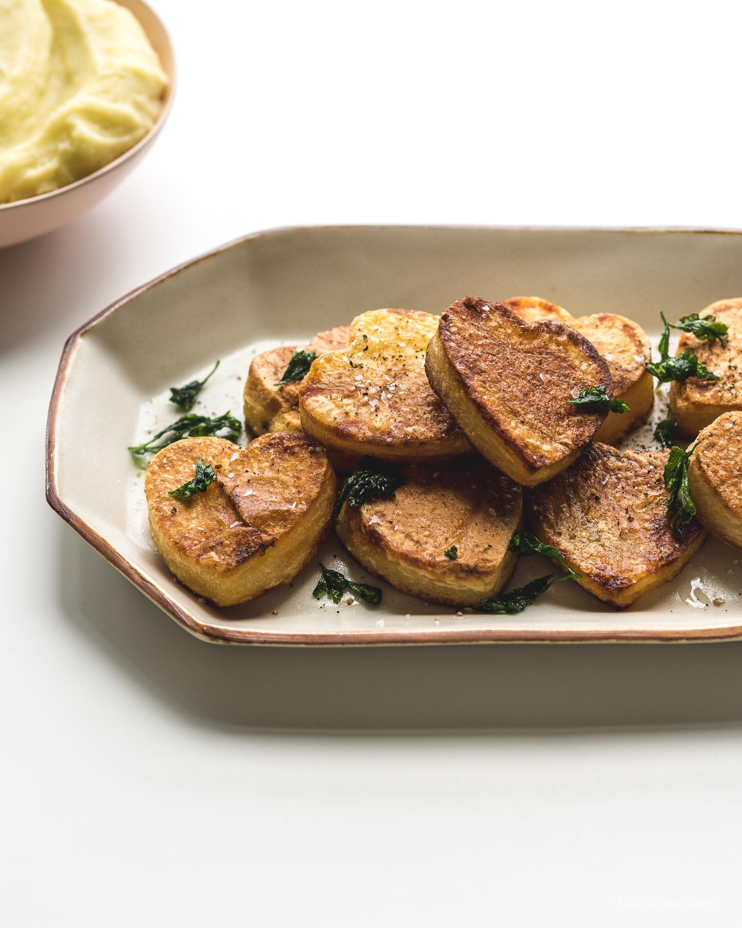 How to Make Heart Shaped Roasted Potatoes | www.iamafoodblog.com