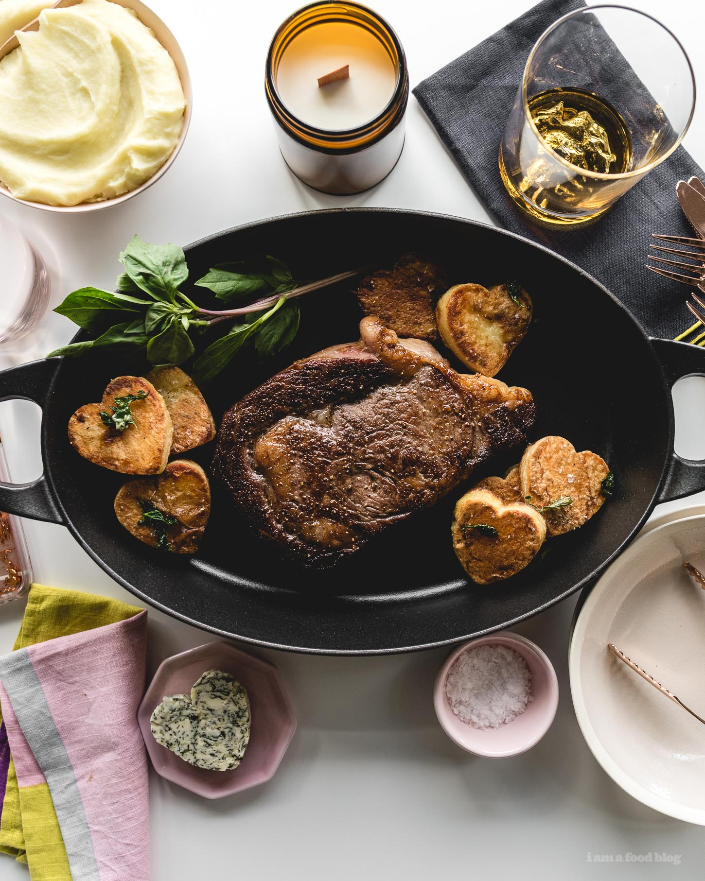 Simple Sous Vide Rib Eye Steak Recipe with Basil Garlic Compound Butter   www.iamafoodblog.com