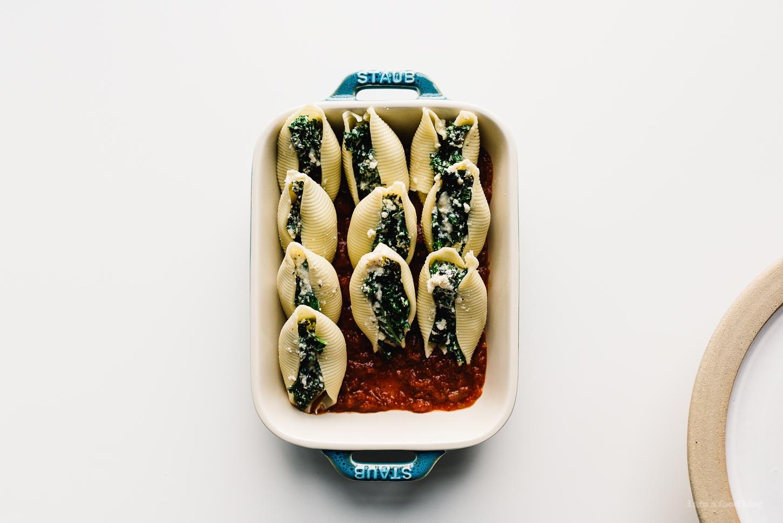 Kale and Ricotta Stuffed Shells Recipe | www.iamafoodblog.com