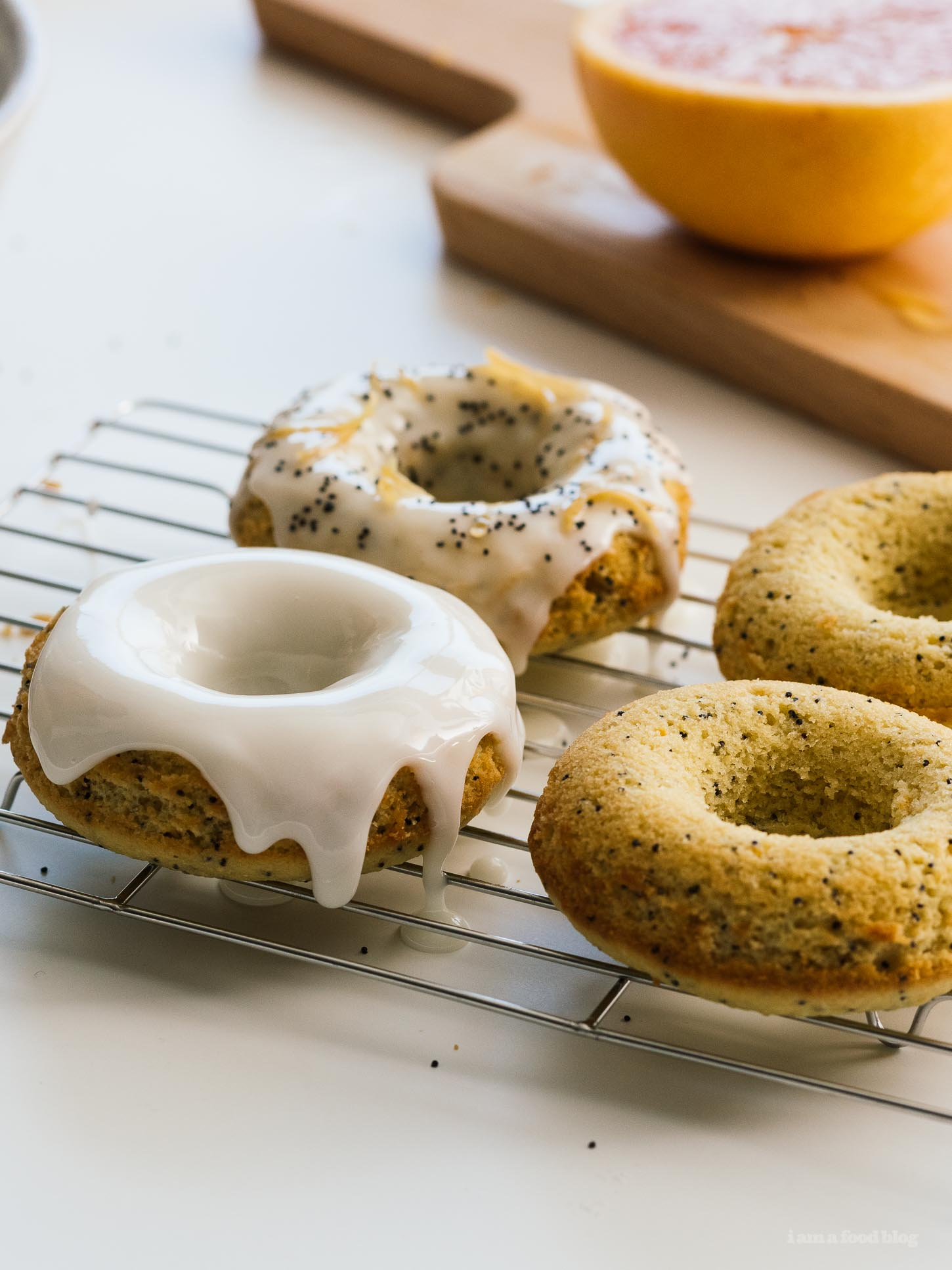 Grapefruit Olive Oil Yogurt Baked Donuts Recipe | www.iamafoodblog.com