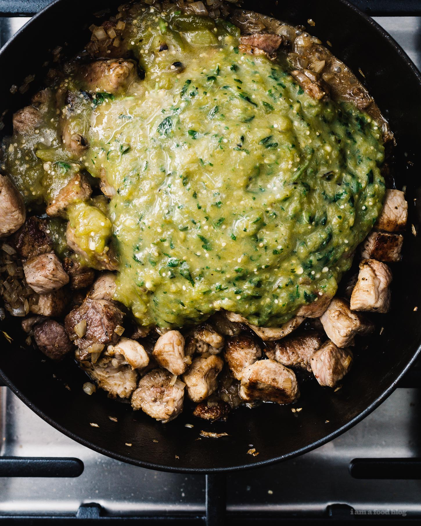 Slow Cooker Green Chili Hatch Chile Verde Recipe | www.iamafoodblog.com