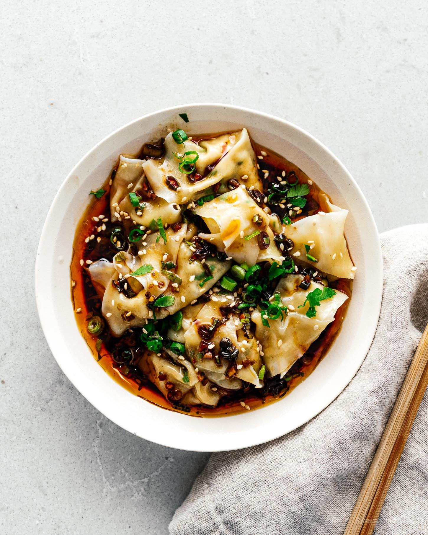 Spicy Tofu Wontons Recipe | www.iamafoodblog.com
