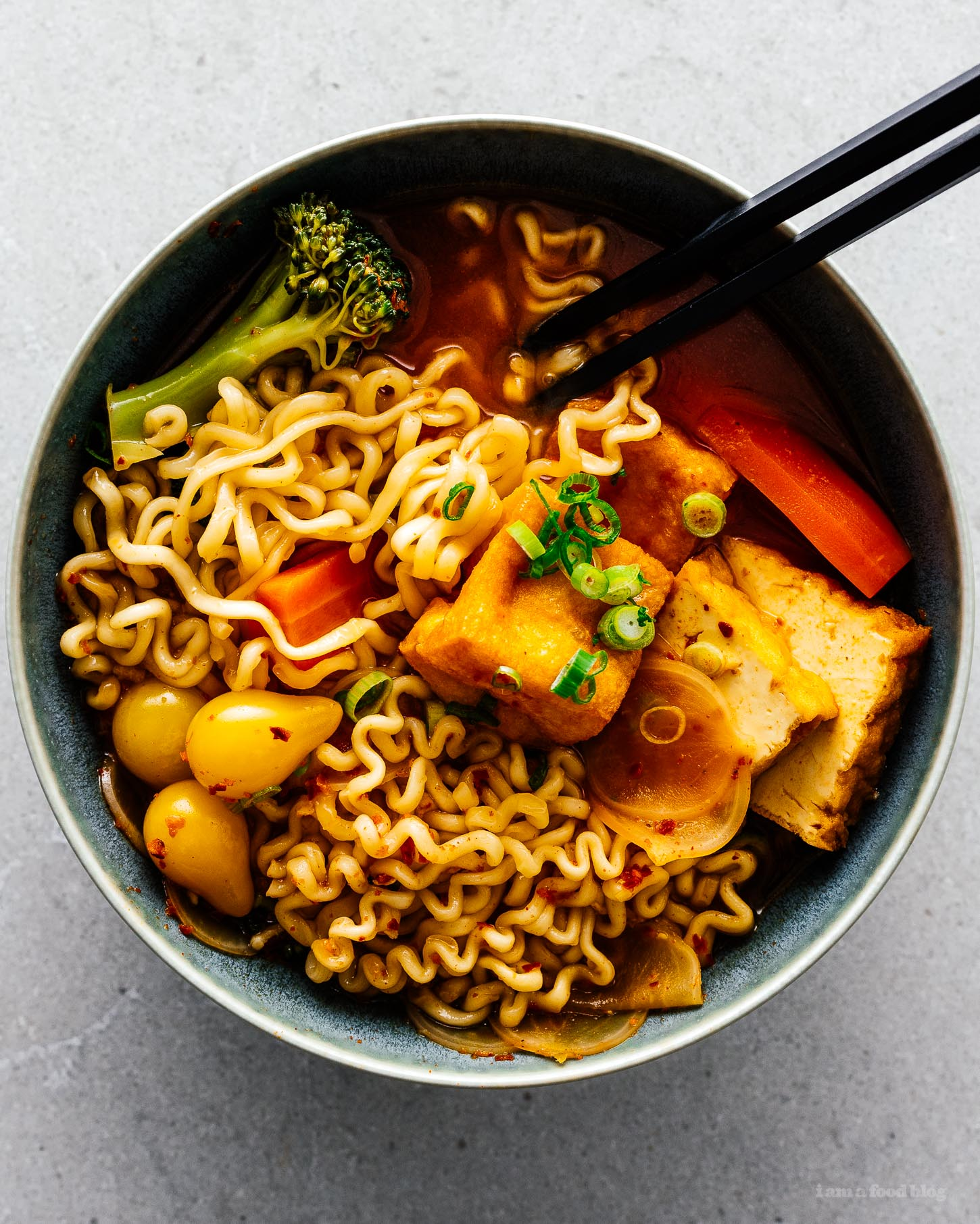 Spicy Korean Ramen Recipe with Tofu and Vegetables | www.iamafoodblog.com