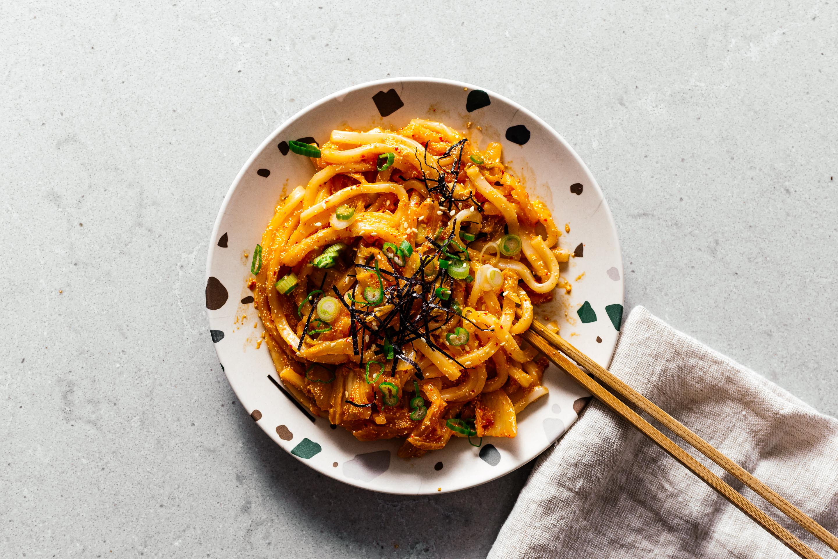 Spicy, Savory, and Completely Addictive Mentaiko Kimchi Udon