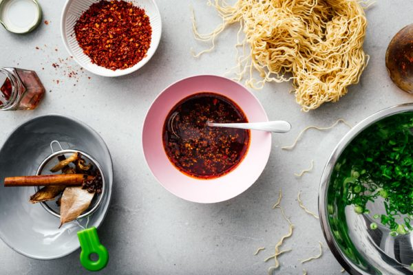 """Want to know how to make authentic Chinese chili oil at home? Try this recipe! Chili oil is amazing with rice, noodles, wontons, salads. Use it as in an ingredient in recipes or as a dipping sauce. www.iamafoodblog.com #chilioil #chinesechilioil #recipes #easy #homemade #sichuan"""""""