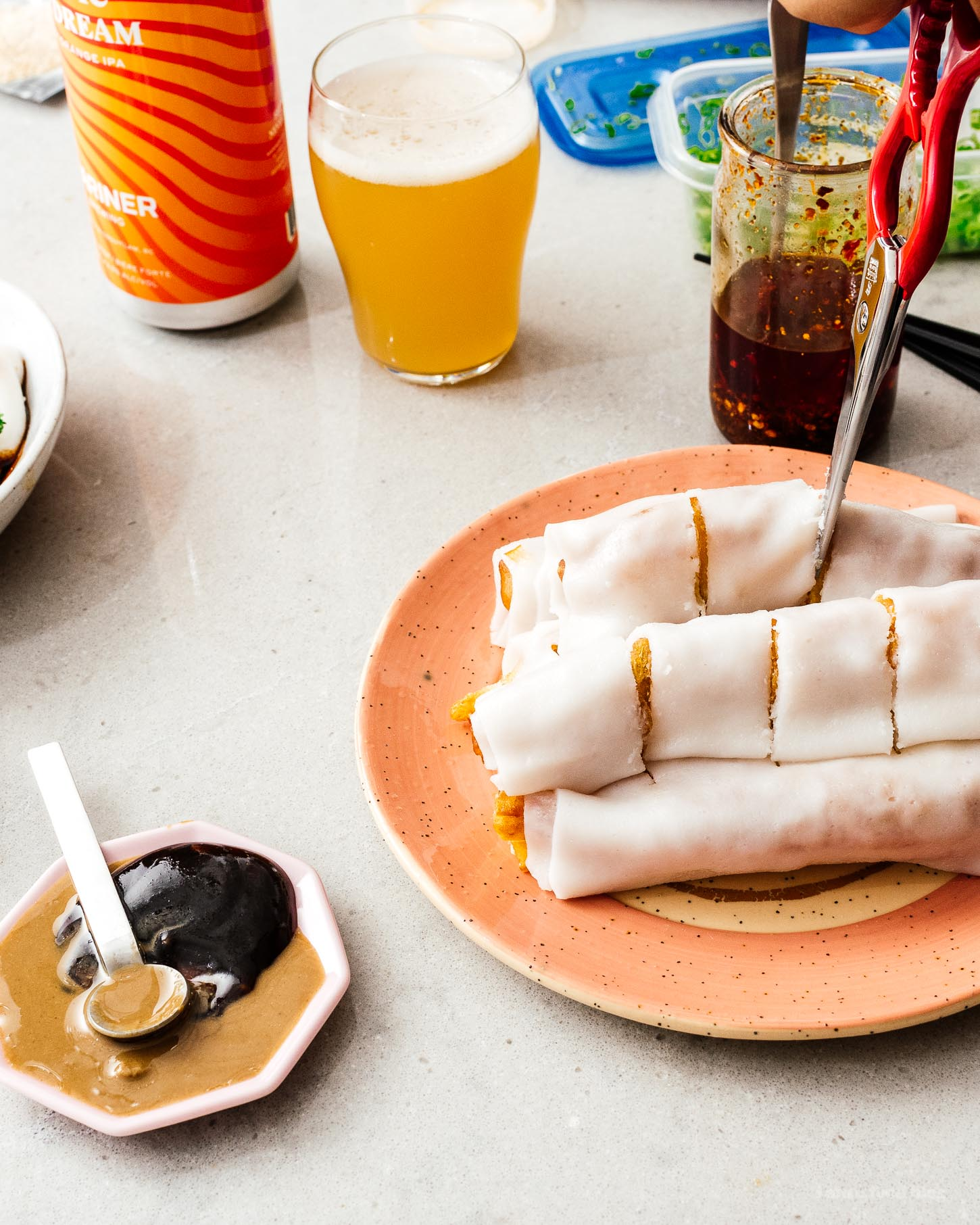 Zhaliang is super popular dish at Cantonese style dim sum made cheung fun (rice noodle sheets) wrapped around crispy youtiao (Chinese fried dough). It's insanely tasty and easier than you think to make at home! #chinesefood #recipe #dimsum #zhaliang