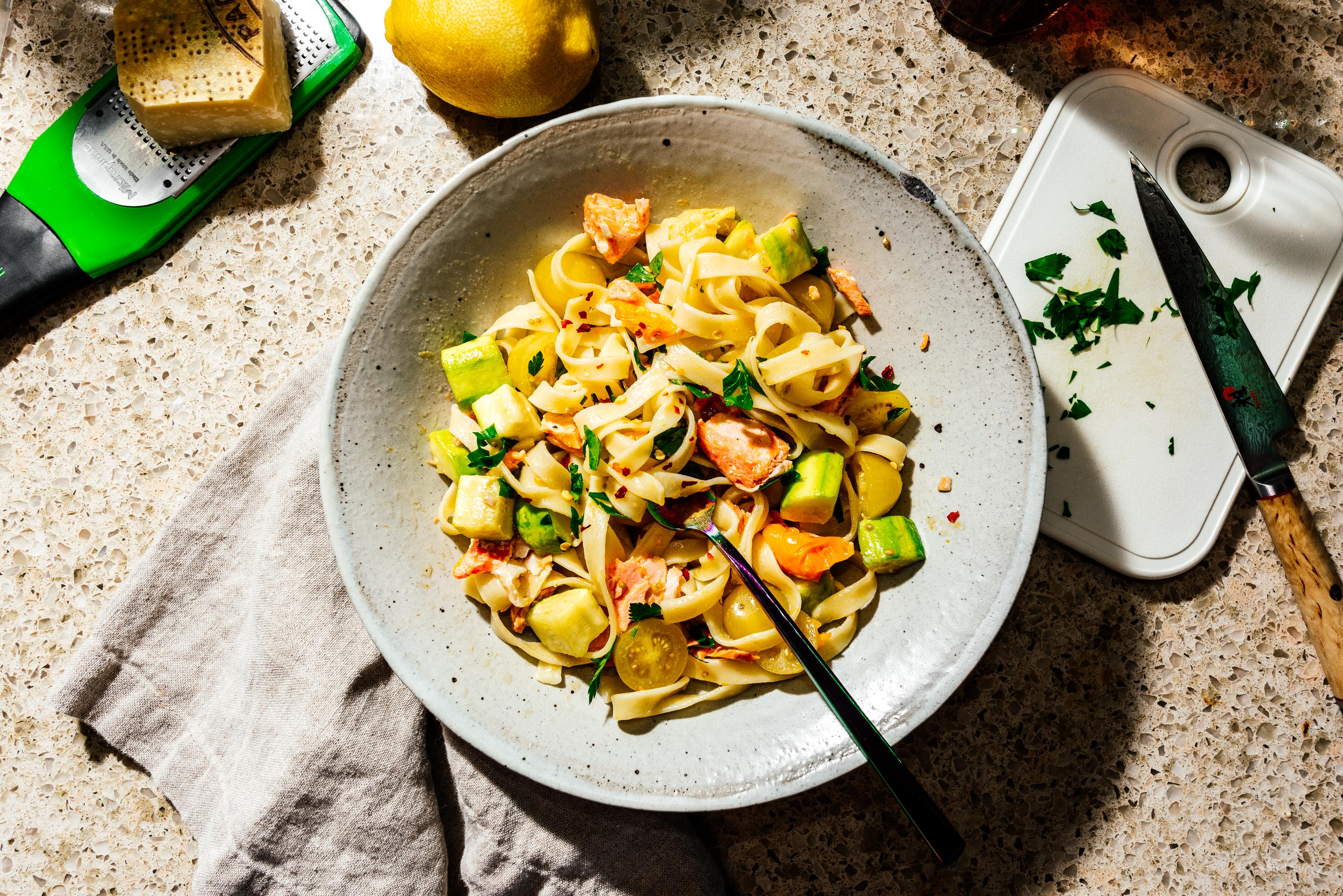 The best summer pasta is this super happy weeknight salmon tomato and zucchini tagliatelle