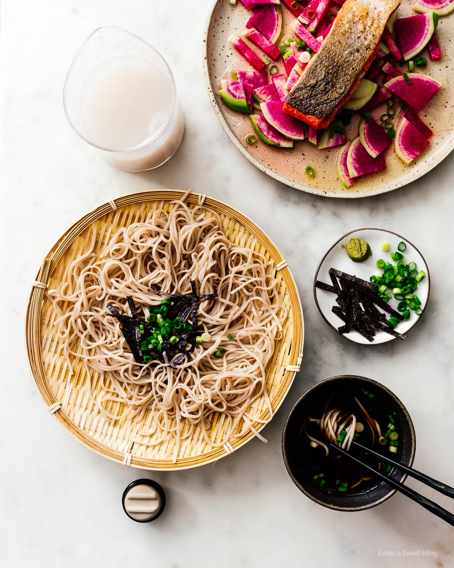10 minute zaru soba with crispy salmon and quick pickled radishes recipe | www.iamafoodblog.com