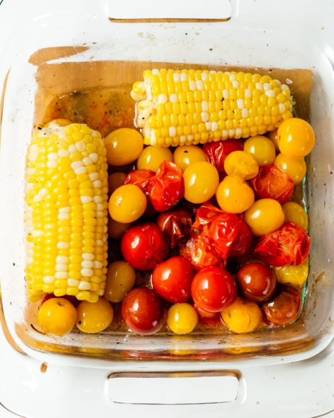 How to cook trader joe's cauliflower gnocchi with sweet oven roasted tomatoes and corn with the best low carb gnocchi out there: cauliflower gnocchi. Super easy, light, tasty, and filling! #cauliflowergnocchi #traderjoes #cauliflowerrecipes #cauliflower #gnocchi #tomatoes #corn #recipes #dinnerrecipes #dinner